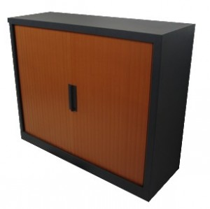 ARMOIRE BASSE ANTHRACITE RIDEAU CARAMEL