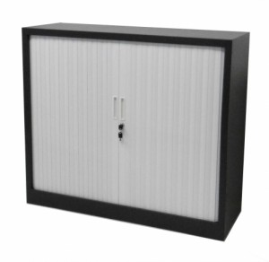 ARMOIRE ANTHRACITE A RIDEAU BLANC