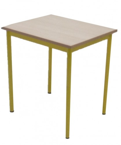 TABLE SCOLAIRE JAUNE 4 PIEDS 50X60