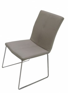 CHAISE SIMILI CUIR TAUPE T6