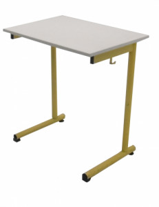 TABLE SCOLAIRE JAUNE TAILLE 6 70X50 - CROCHET PORTE CARTABLE