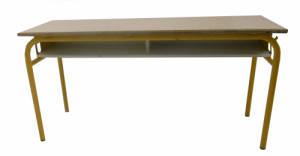 TABLE SCOLAIRE JAUNE COQUILLE ŒUF 130X50