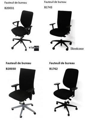 - FAUTEUIL DE BUREAU - TISSU NOIR