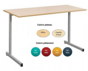 - TABLE SCOLAIRE GANGE 130x50 - H.76