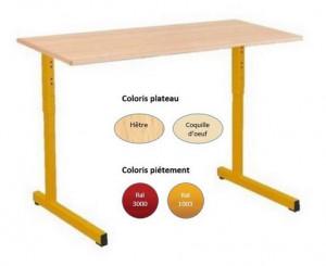 - TABLE SCOLAIRE GANGE 130x50 RÉGLABLE - H.59 A H.76