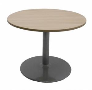 TABLE RONDE CHÊNE / GRIS ARGENT DIAMÈTRE 100 - HAUTEUR 74 CM