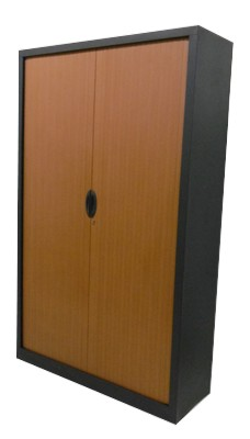 ARMOIRE HAUTE A RIDEAU ANTHRACITE MERISIER 120X198