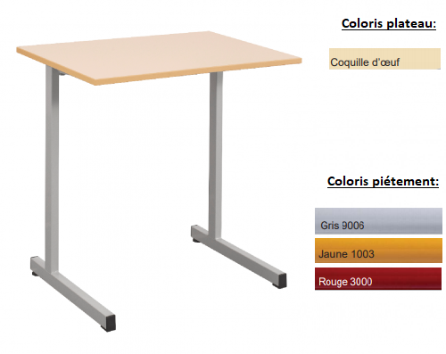 - TABLE SCOLAIRE GANGE 70X50 - H.76
